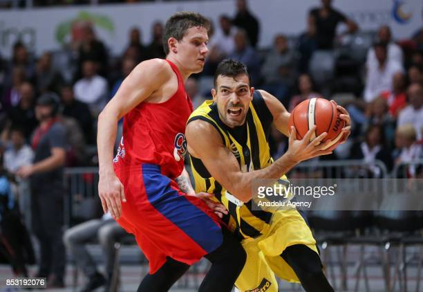 Konstantinos Sloukas of Fenerbahce in action against Mikhail Kulagin of CSKA Moscow during the Zadar Basketball Tournament final match between...