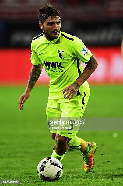 Konstantinos Stafylidis of Augsburg in action during the Bundesliga match between RB Leipzig and FC Augsburg at Red Bull Arena on September 30 2016...