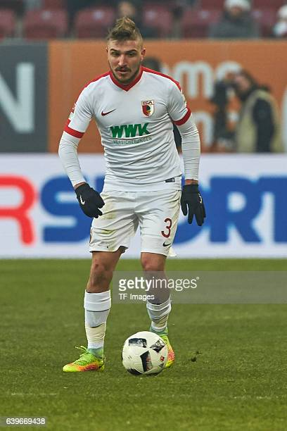 Konstantinos Stafylidis of Augsburg in action during the Bundesliga match between FC Augsburg and TSG 1899 Hoffenheim at WWK Arena on January 21 2017...