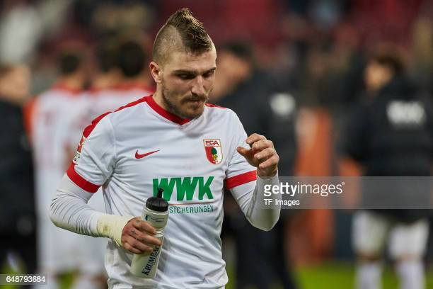 Konstantinos Stafylidis of Augsburg looks on during the Bundesliga match between FC Augsburg and RB Leipzig at WWK Arena on March 3 2017 in Augsburg...