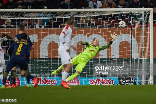 Konstantinos Stafylidis of Augsburg scores a goal during the Bundesliga match between FC Augsburg and RB Leipzig at WWK Arena on March 3 2017 in...