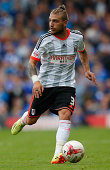 Konstantinos Stafylidis of Fulham in action during the Sky Bet Championship match between Fulham and Cardiff City at Craven Cottage on August 30 2014...