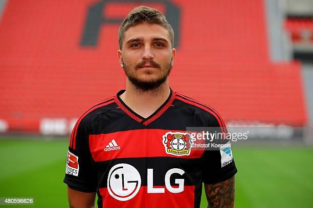 Konstantinos Stafylidis poses during the team presentation of Bayer Leverkusen at BayArena on July 13 2015 in Leverkusen Germany