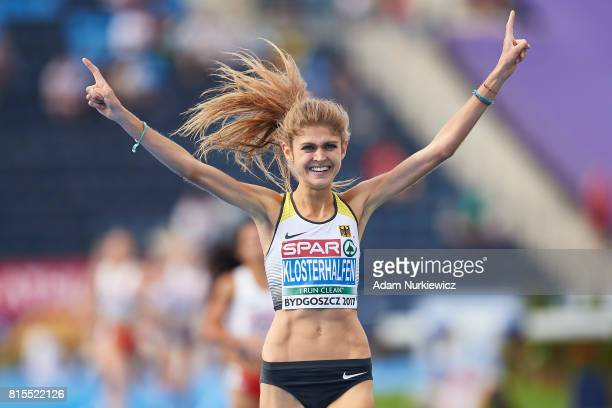 Konstanze Klosterhalfen from Germany celebrates her victory in women's 1500m final during Day 4 of European Athletics U23 Championships 2017 at...