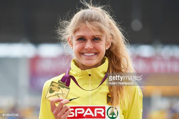 Konstanze Klosterhalfen from Germany celebrates with gold medal her victory while awarding ceremony women's 1500m final during Day 4 of European...