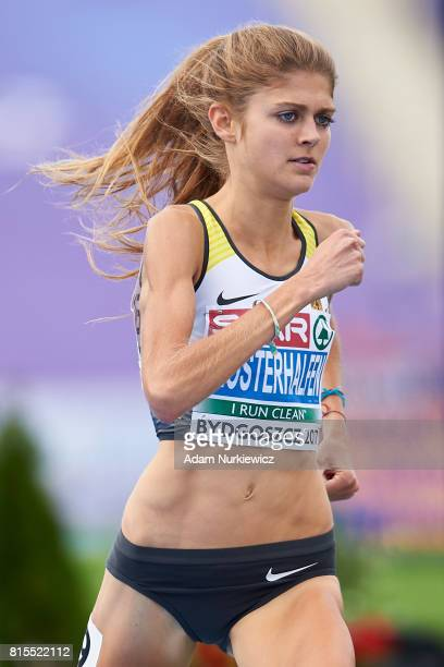 Konstanze Klosterhalfen from Germany competes in women's 1500m final during Day 4 of European Athletics U23 Championships 2017 at Zawisza Stadium on...