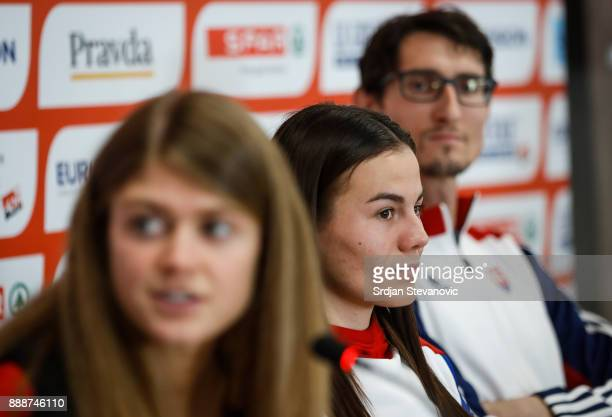 Konstanze Klosterhalfen of Germany Lucia Janeckova of Slovakia and Jozef Repcik of Slovakia attend a press conference ahead of the Spar European...