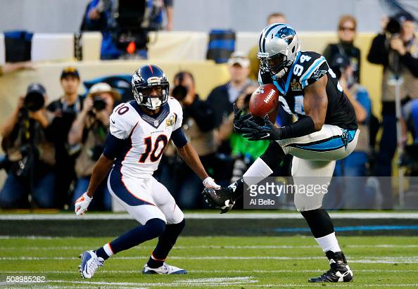 Kony Ealy of the Carolina Panthers intercepts a pass intended for Emmanuel Sanders of the Denver Broncos in the second quarter during Super Bowl 50...