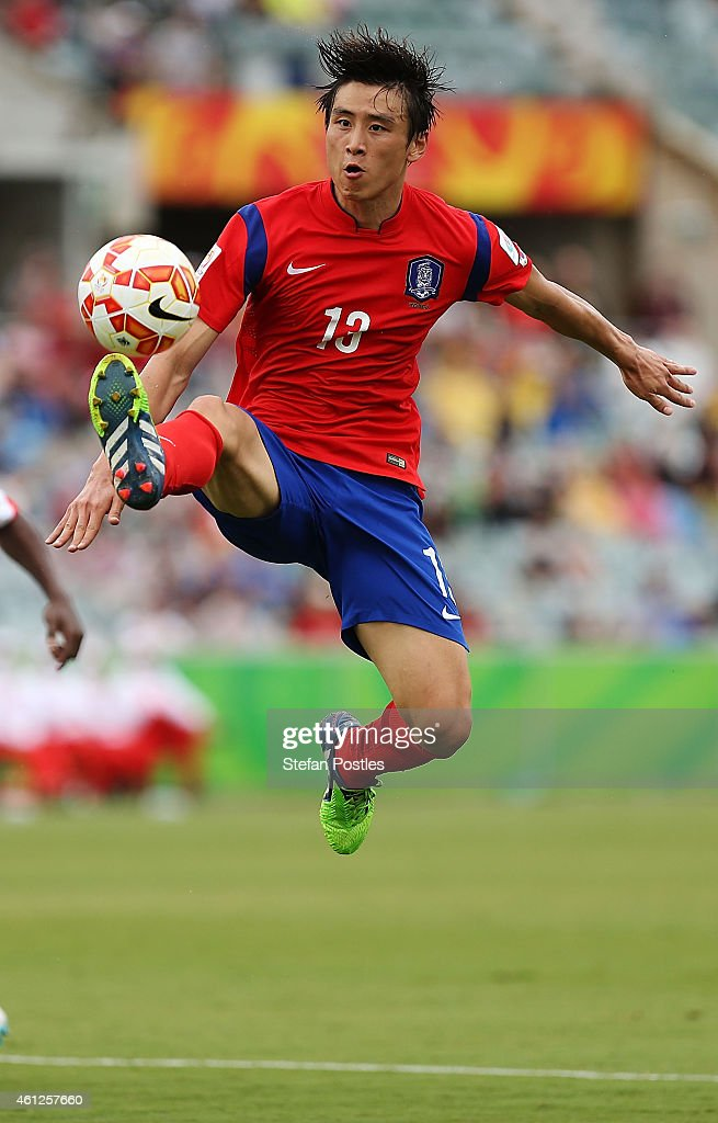 Koo Ja Cheol of Korea Republic in action during the 2015 Asian Cup match between Korea Republic and Oman at Canberra Stadium on January 10 2015 in...