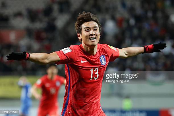 Koo Ja Cheol of South Korea celebrates scoring his team's second goal during the 2018 FIFA World Cup qualifying match between South Korea and...