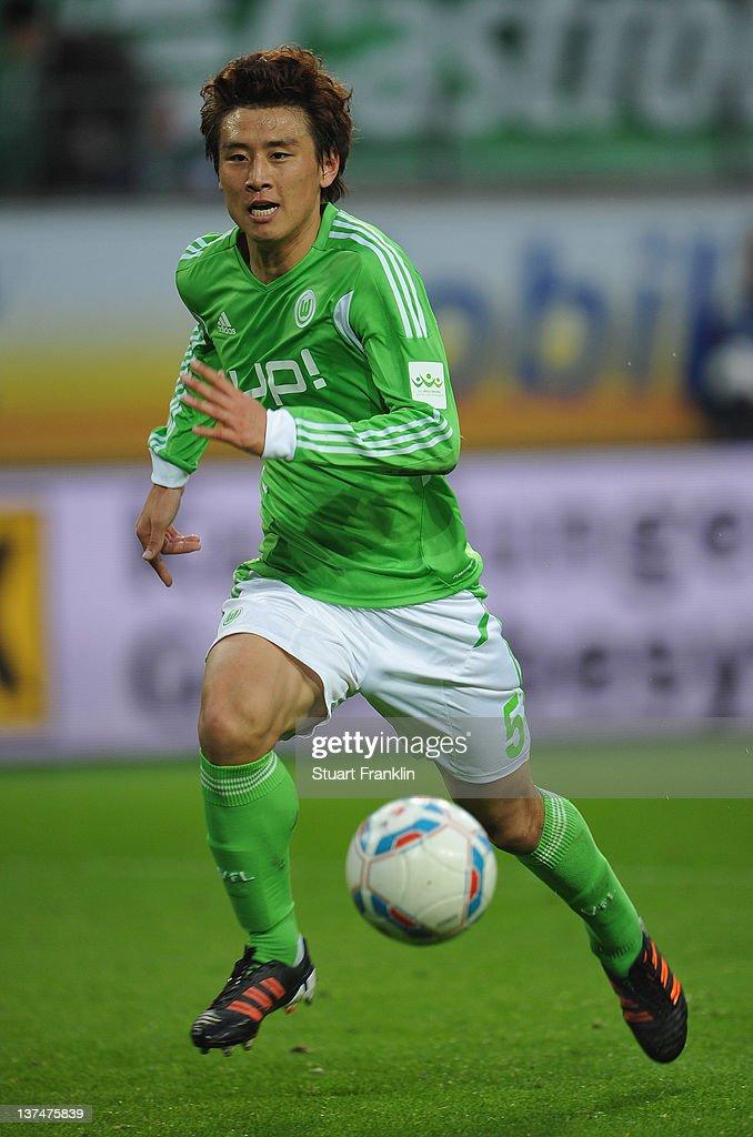 Koo Ja - Cheol of Wolfsburg in action during the Bundesliga match between VfL Wolfsburg and 1. FC Koeln at Volkswagen Arena on January 21, 2012 in Wolfsburg, Germany.