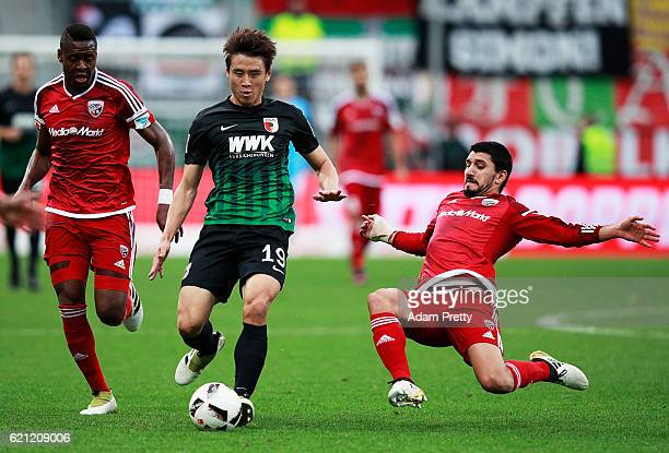 Koo JaCheol of Augsburg in action during the Bundesliga match between FC Ingolstadt 04 and FC Augsburg at Audi Sportpark on November 5 2016 in...