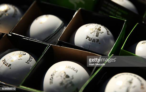 Kookaburra cricket balls are seen during the Women's Big Bash League match between the Melbourne Renegades and the Adelaide Strikers at North Sydney...