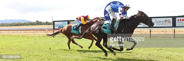 Kookiecutter ridden by Jack Hill wins Bakers Brew Ararat BM58 Handicap at Ararat Racecourse on January 13 2017 in Ararat Australia