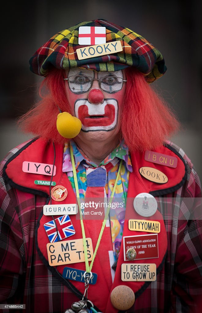 Kooky the clown performs in the Village Green area on the opening day of the Royal Bath and West Show at the Royal Bath and West Showground near Shepton Mallet on May 27, 2015 in Somerset, England. The Royal Bath and West Show which features livestock, agricultural machinery, trade-stands and locally produced food and drink, was first held in 1852 and is one of the oldest surviving agricultural shows in England.