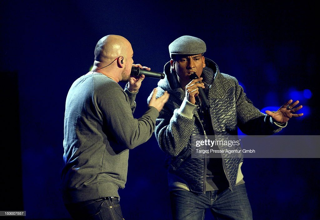 Kool Savas and Xavier Naidoo (R) perform during the 'Bundesvision Song Contest 2012' at the Max-Schmeling-Halle on September 28, 2012 in Berlin, Germany.
