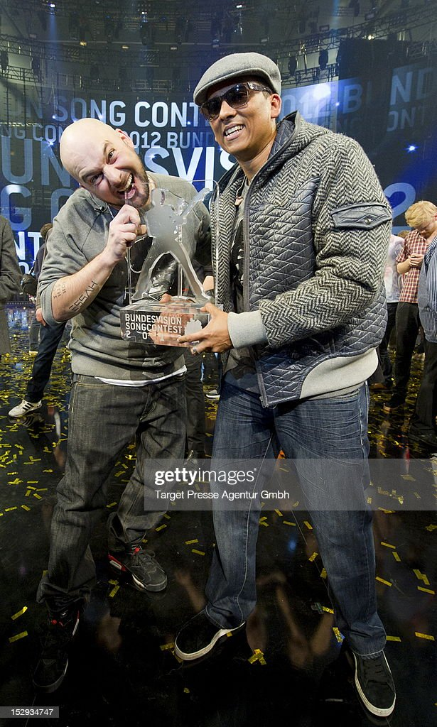 Kool Savas and Xavier Naidoo pose for the media after winning the 'Bundesvision Song Contest 2012' at the Max-Schmeling-Halle on September 28, 2012 in Berlin, Germany.