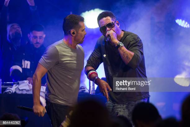 Kool Shen and Joey Starr of NTM perform onstage after the Etam show as part of Paris Fashion Week Womenswear Spring/Summer 2018 on September 26 2017...