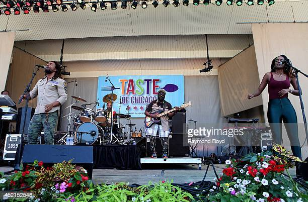 Koolant Brown Drummie Zeb Aston 'Family Man' Barrett and Cegee Victory from The Wailers performs on the Petrillo Music Shell during the 34th Annual...