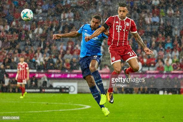 Kopfballduell zwischen Jonathan Tah and Corentin Tolisso of Muenchen battle for the ball during the Bundesliga match between FC Bayern Muenchen and...