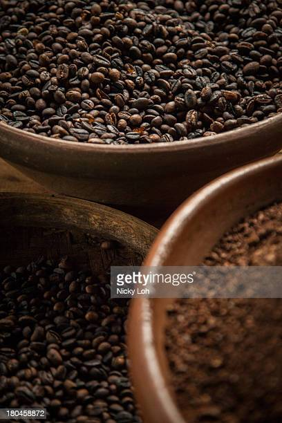 Kopi Luwak coffee seeds are displayed inside a 'Kopi Luwak' or Civet coffee farm and cafe on May 27 2013 in Tampaksiring Bali Indonesia World Society...