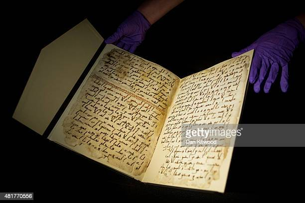 Koran manuscript is displayed at the University of Birmingham on July 24 2015 in Birmingham England The two leaves of parchment have recently been...