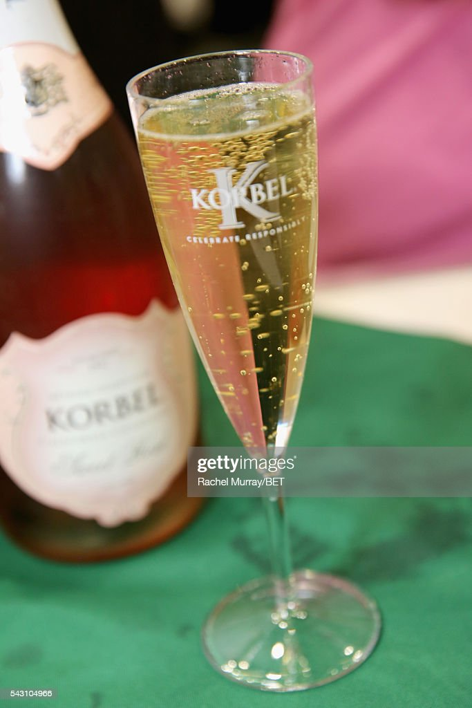 A Korbel champagne flute and bottle of Korbel champage are displayed at Fashion And Beauty @BETX presented by Progressive, Covergirl, Strength of Nature, Korbel and Macy's during the 2016 BET Experience on June 25, 2016 in Los Angeles, California.