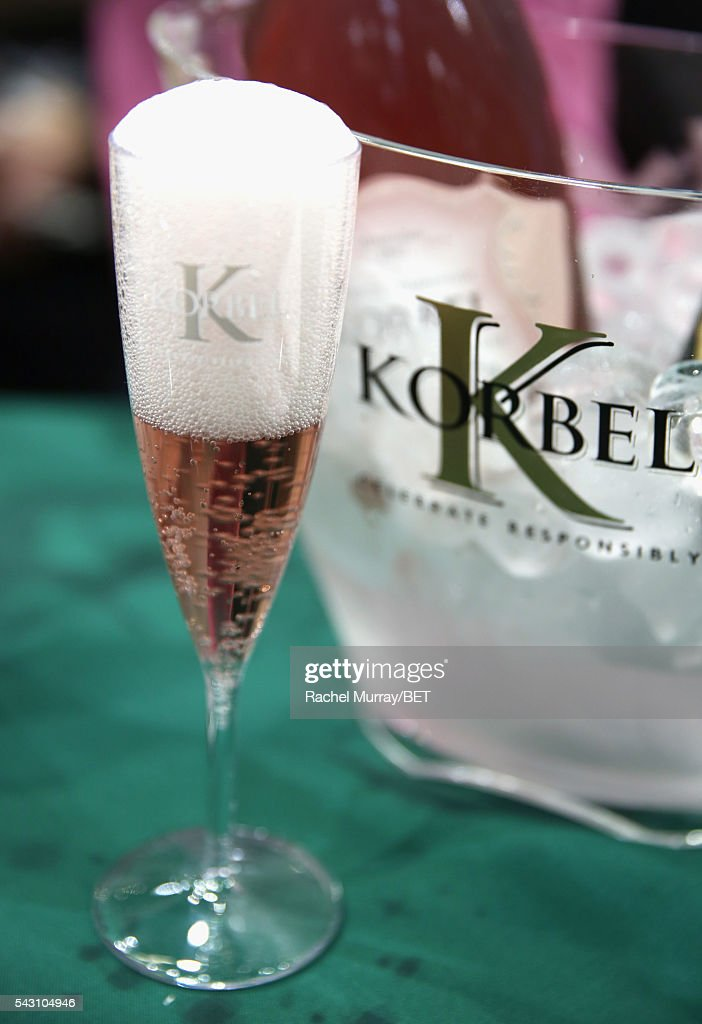 A Korbel champagne flute is displayed in front of a Korbel ice bucket at Fashion And Beauty @BETX presented by Progressive, Covergirl, Strength of Nature, Korbel and Macy's during the 2016 BET Experience on June 25, 2016 in Los Angeles, California.