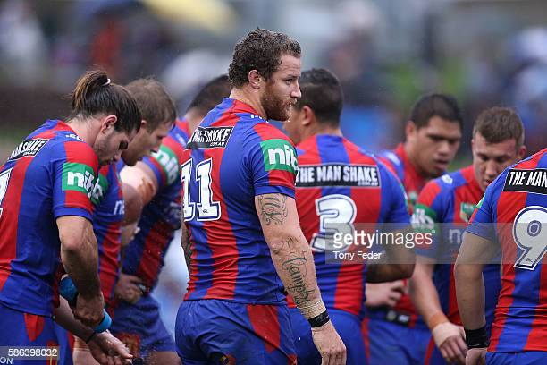Korbin Sims of the Knights during the round 22 NRL match between the Newcastle Knights and the Canterbury Bulldogs at Hunter Stadium on August 6 2016...