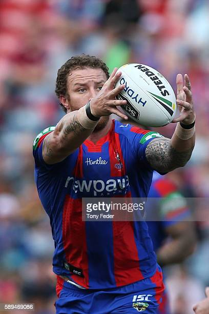 Korbin Sims of the Knights in action during the round 23 NRL match between the Newcastle Knights and the Penrith Panthers at Hunter Stadium on August...