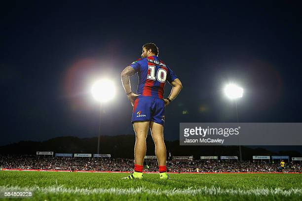 Korbin Sims of the Knights watches on during the round 21 NRL match between the Manly Sea Eagles and the Newcastle Knights at Brookvale Oval on July...