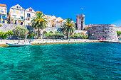 View at coastal town and promenade in place Korcula in Croatia, european travel destination.