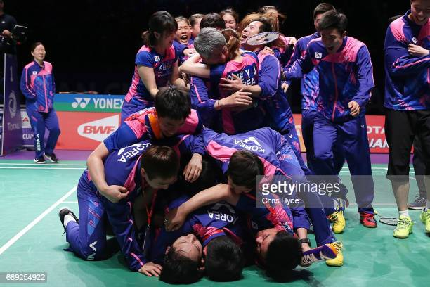 Korea celebrate after winning the Final match against China during the Sudirman Cup at the Carrara Sports Leisure Centre on May 28 2017 in Gold Coast...