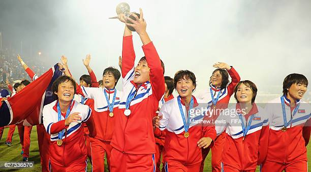 Korea DPR celebrate winning the FIFA U20 Women's World Cup Papua New Guinea 2016 Final between Korea DPR and France at the National Football Stadiuml...