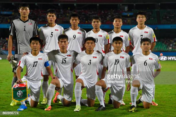 Korea DPR poses for a team photo ahead of the FIFA U17 World Cup India 2017 group D match between Spain and Korea DPR at the Jawaharlal Nehru...