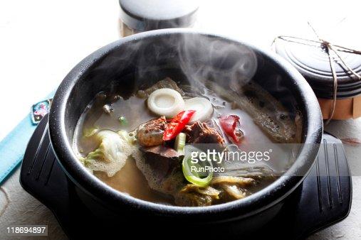 korea food,seonjiguk(ox-blood soup) : Stock Photo