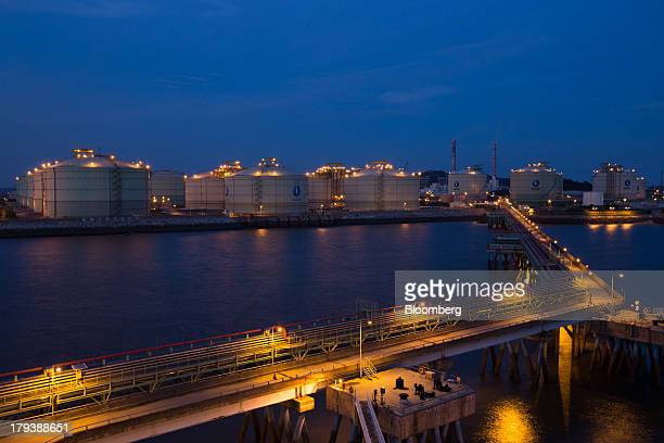 Korea Gas Corp liquefied natural gas tanks stand at night at the company's LNG terminal in Pyeongtaek South Korea on Monday Sept 2 2013 South Korea...