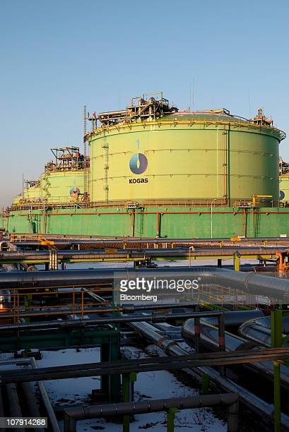 Korea Gas Corp liquefied natural gas tanks stand over pipelines at the company's plant in Incheon South Korea on Thursday Jan 6 2011 Liquefied...
