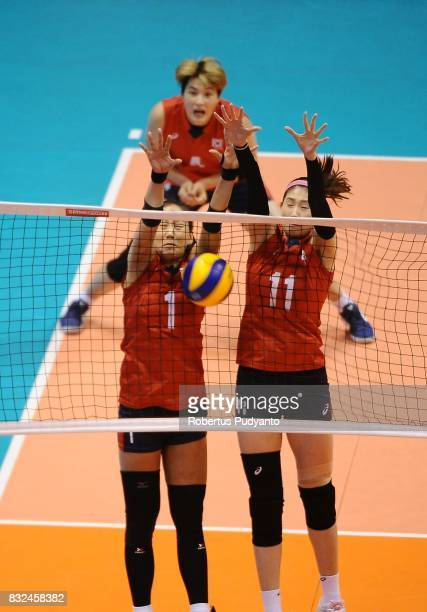 Korea players block the ball during the 19th Asian Senior Women's Volleyball Championship 2017 Semifinal match between Thailand and Korea at Alonte...