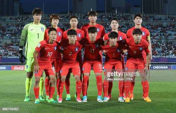 Korea players pose for a team photo prior to the FIFA U20 World Cup Korea Republic 2017 Round of 16 match between Korea Republic and Portugal at...