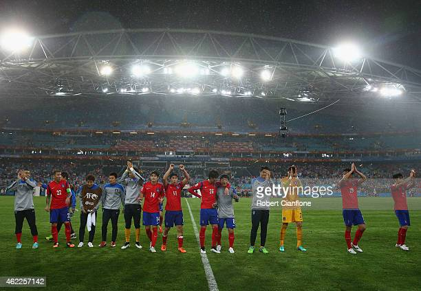 Korea Republic celebrate after defeating Iraq during the Asian Cup Semi Final match between Korea Republic and Iraq at ANZ Stadium on January 26 2015...