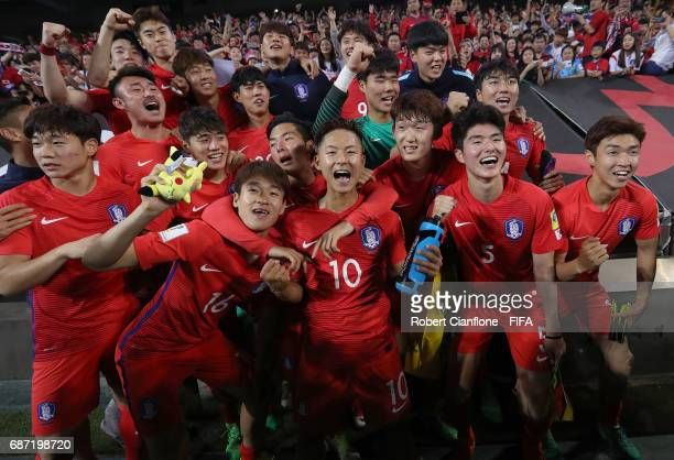 Korea Republic celebrate after they defeated Argentina during the FIFA U20 World Cup Korea Republic 2017 group A match between Korea Republic and...