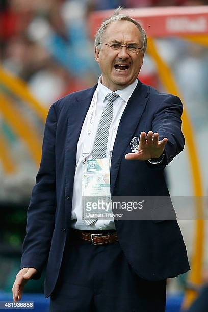 Korea Republic coach Ulrich Stielike reacts during the 2015 Asian Cup match between Korea Republic and Uzbekistan at AAMI Park on January 22 2015 in...
