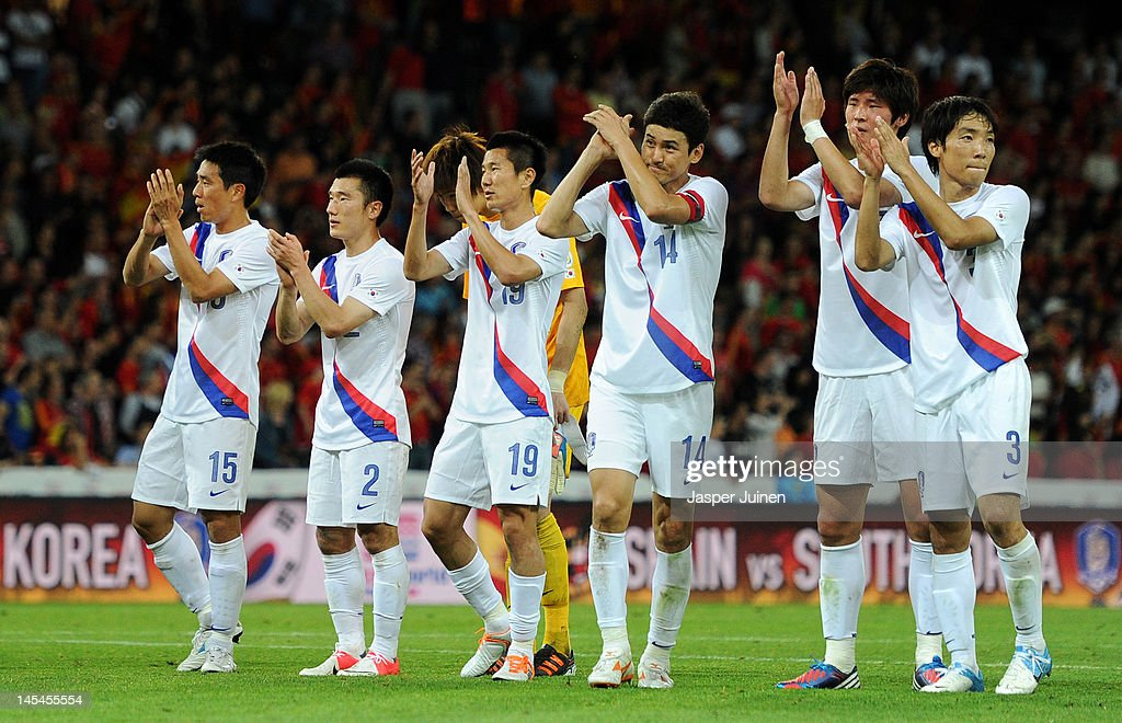 Korea Republic players greet their fans at the end of the international friendly match between Spain and Korea Republic on May 30, 2012 in Bern, Switzerland.