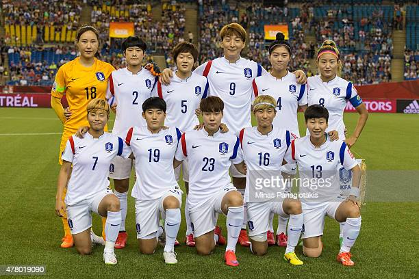 Korea Republic pose for a team photo during the 2015 FIFA Women's World Cup Round of 16 match against France at Olympic Stadium on June 21 2015 in...