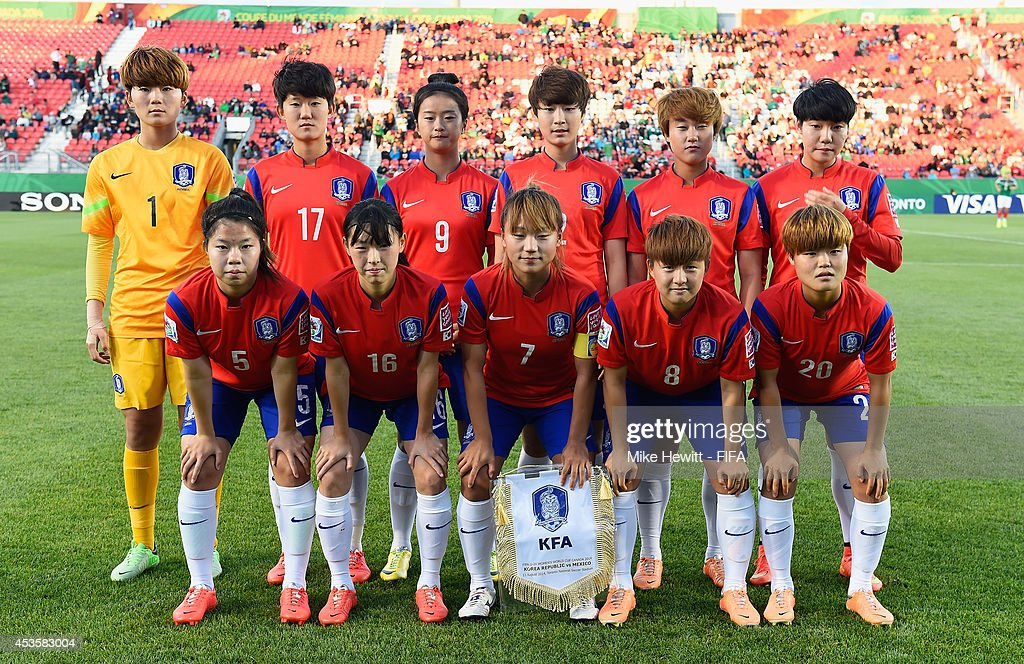 Korea Republic pose for a team photo prior to the FIFA U-20 Women's World Cup Canada 2014 Group D match between Korea Republic and Mexico at the National Soccer Stadium on August 13, 2014 in Toronto, Canada.