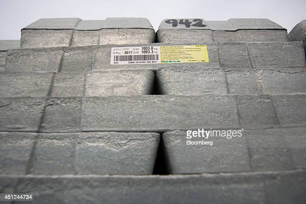 A Korea Zinc Co sticker is displayed on stacked zinc ingots at the Public Procurement Service warehouse in Gunsan South Korea on Wednesday June 25...