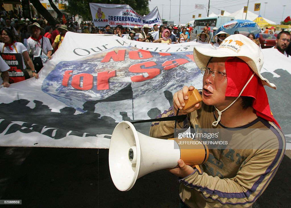 Korean activist takes part in a protest against the US President George W Bush and the Iraq war during the closing day of the V World Social Forum in...