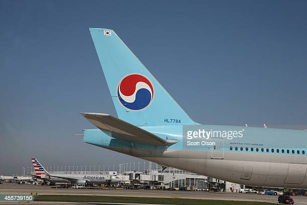 Korean Air jet taxis at O'Hare International Airport on September 19 2014 in Chicago Illinois In 2013 67 million passengers passed through O'Hare...