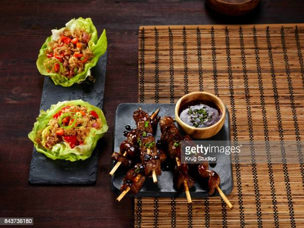 Korean BBQ Satay Skewers with Lettuce Wraps